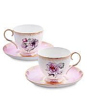 Чайный набор из костяного фарфора на 2 персоны ''Цветок Неаполя'' (Fiore Napoli Pavone) JK-121