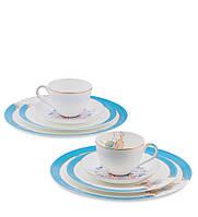 Чайный набор из костяного фарфора на 2 персоны ''Песня Мотылька'' (Canzone Falena Pavone) JK-94