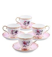 Чайный набор из костяного фарфора на 4 персоны ''Цветок Неаполя'' (Fiore Napoli Pavone) JK-122