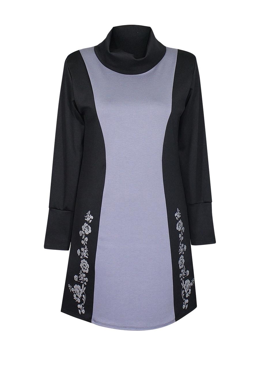 комбинированное с серым вечернее платье для полных женщин