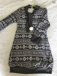 Стильное детское платье-туника в сером цвете для девочки 5-6 лет