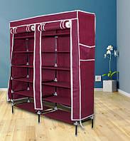 Портативный сборный тканевый шкаф на каркасе для хранения обуви Синий