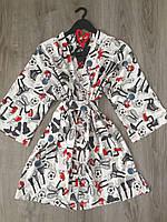 Летний легкий халат с принтом кроссовки, женская домашняя одежда