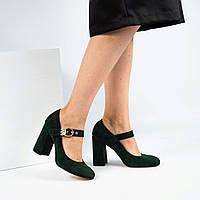 Женские зеленые туфли на среднем каблуке.Ремешок-пряжка.Натуральный итальянский велюр(замша) .