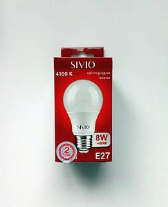 Светодиодная лампа  SIV-E27-A60-8W-3000/4100K 780Lm груша,  матовая