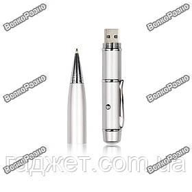Флешка ручка с лазерной указкой на 32 гб. серебряного цвета