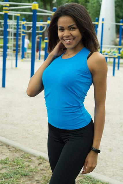 Спортивная женская майка-боксерка Blue