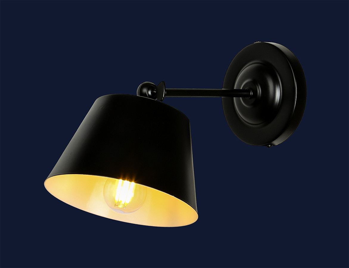 Настенный светильник лофт с металлическим абажуром