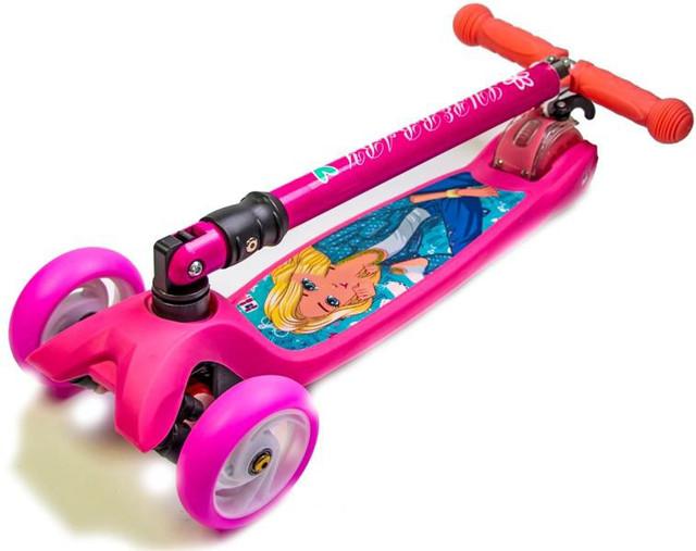 """Самокат трехколесный складной Maxi Disney """"Barbie"""" с наклоном руля, от 4 лет"""