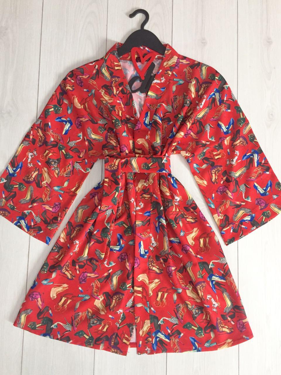 Красный тонкий халатик с рисунком, женская домашняя одежда ТМExclusive.