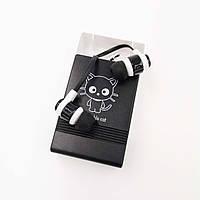 Гарнитура для телефона Keeka MC98 с микрофоном и кнопкой ответа, Funny Animals Black Adorable Cat