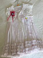 Стильное летнее платье с накидкой для девочки в светлых тонах