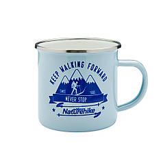 Кружка стальная эмалированная 350мл NatureHike Mountains fun Light Blue NH17M001-B