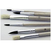 """Набор кистей для рисования SAT """"Schulmalpinsel"""" (натуральные, мягкие, жесткие, для акварели и гуаши) 6шт."""
