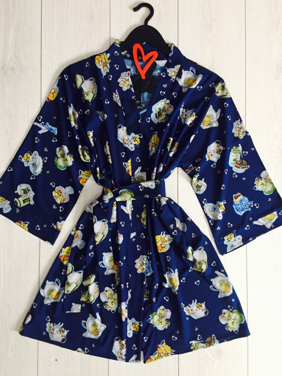 Домашняя женская одежда, стильный халатик под пояс