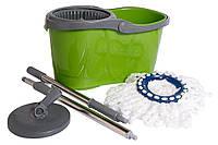 Швабра для мытья полов Super MOP с ведром EMAI PLASTYK Зелёная