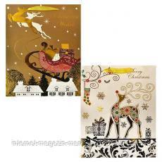 Пакет «Новогодние олени» М7-М01–02 26×32×10 см картон, глиттер, фольга