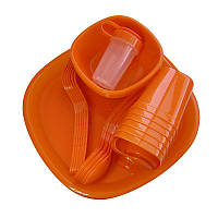 Набор пластиковой посуды для пикника на 6 персон, Bita 48 предметов - красный