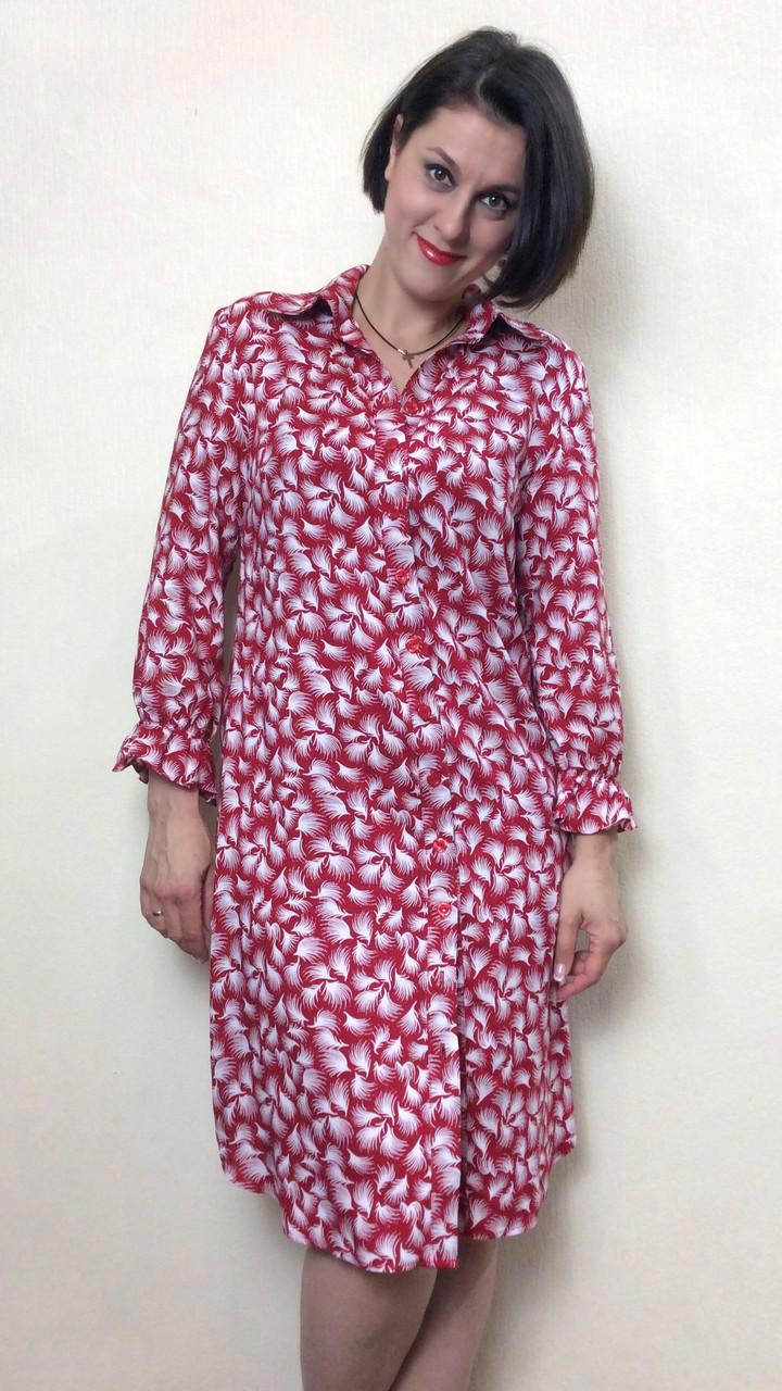 Красное платье-рубашка из штапеля с рукавом П229  продажа, цена в ... fb391782196