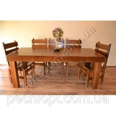Мебель деревянная для кафе стол и 8 стульев из сосны, фото 2