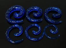 Растяжка спираль акриловая синяя с блестками
