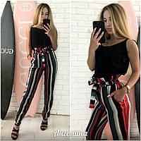 Женские стильные штаны в цветную полосу с поясом и декором. АА-7-0718