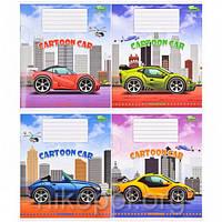 """Тетрадь 12 листов в косую линию, серия """"Cartoon Car"""", белизна 98%, фото 1"""