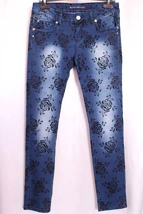 Женские  зауженные джинсы  с розами, фото 2