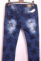 Женские  зауженные джинсы  с розами, фото 3