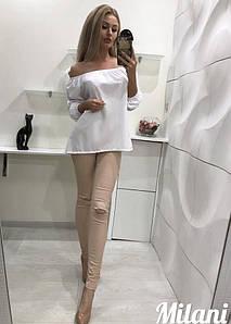 Женская однотонная летняя блузка (батал)