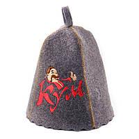 """Банная шапка с шивкой """"Кум"""" (серый войлок)"""