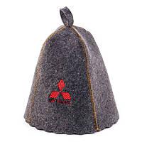 """Банная шапка Luxyart """"Mitsubishi"""", натуральный войлок, серый (LA-254)"""