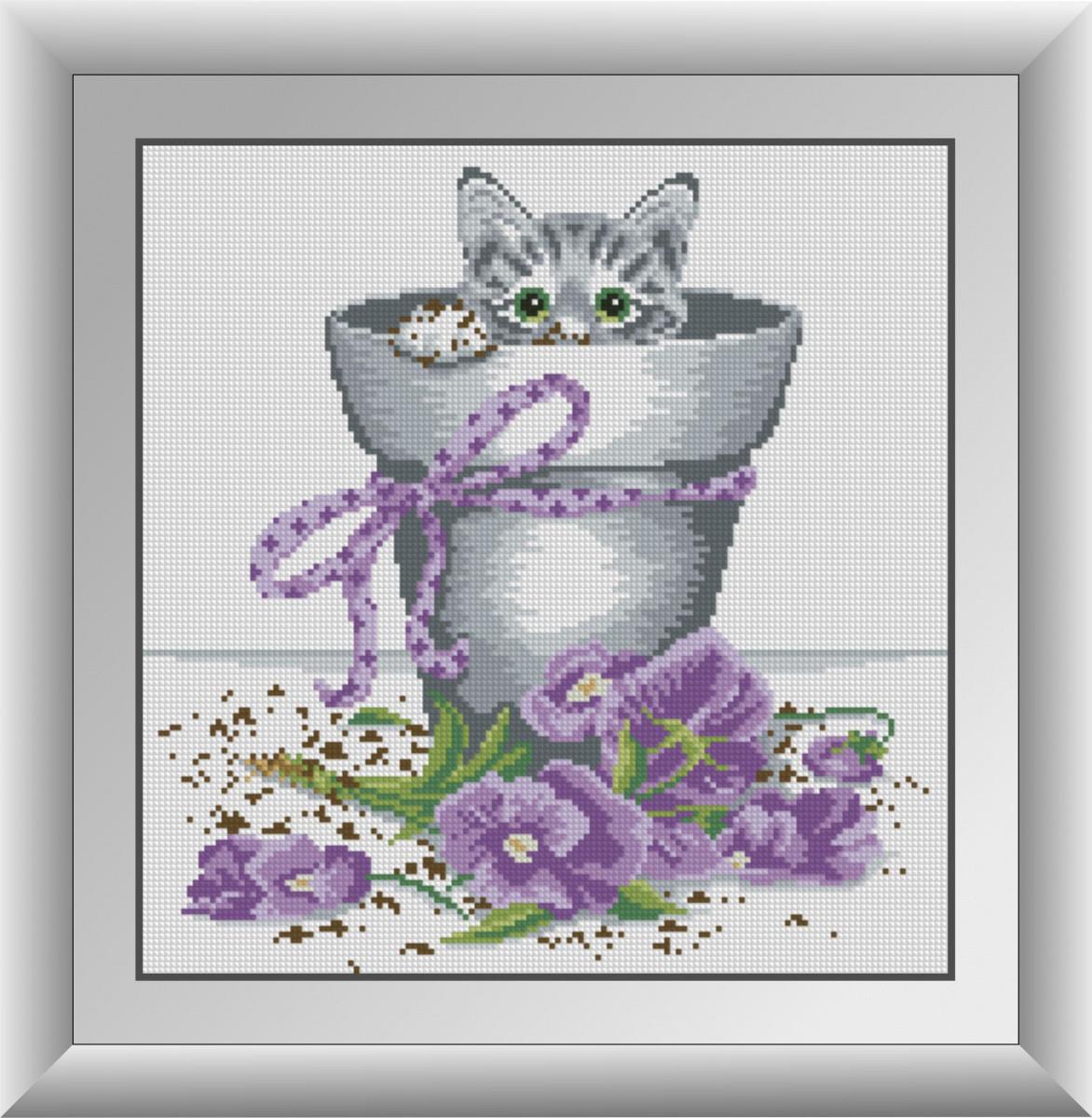 """Алмазная вышивка 35х36 набор """"Котенок в цветочном горшке"""""""