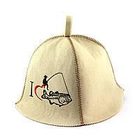 Банная шапка (белая), Крутой рыбак, искусственный фетр, Saunapro
