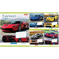 """Тетрадь 36 листов/клетка 1 Вересня 762568 """"Fastest car"""", 15 шт. в упаковке (Y)"""