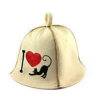 """Банная шапка Luxyart """"I love cat"""", искусственный фетр, белый (LA-386)"""