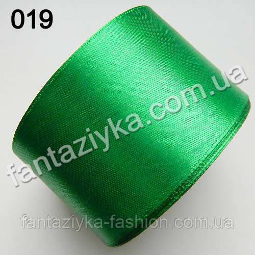 Лента атласная широкая 5 см, зеленая 019