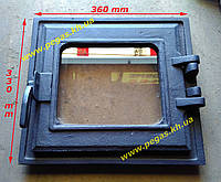 Дверка чугунная с огнеупорным стеклом 330х360 мм грубу, барбекю, мангал, фото 1