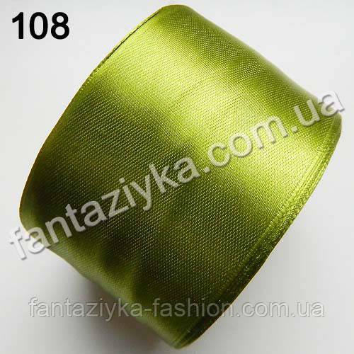 Лента атласная широкая 5 см, золотая оливка 108