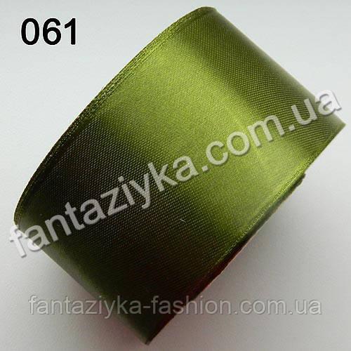 Лента атласная широкая 5 см, золотистый хаки 061