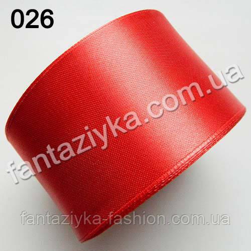 Лента атласная широкая 5 см, красная 026