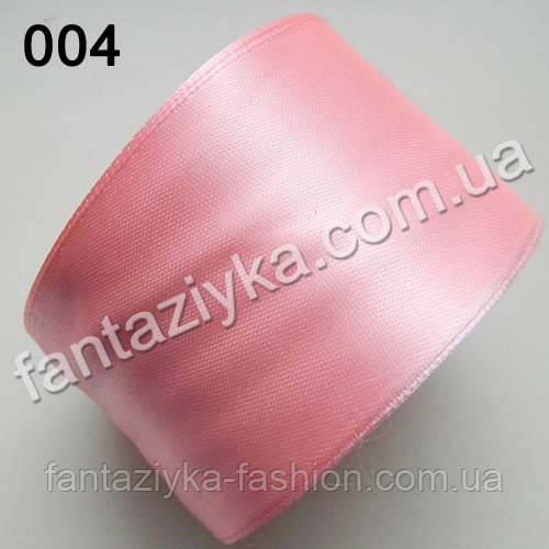 Лента атласная широкая 5 см, светло-розовая 004