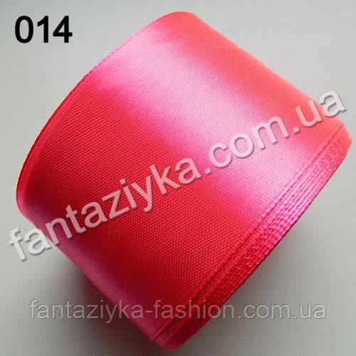 Лента атласная широкая 5 см, ультра-розовая 014