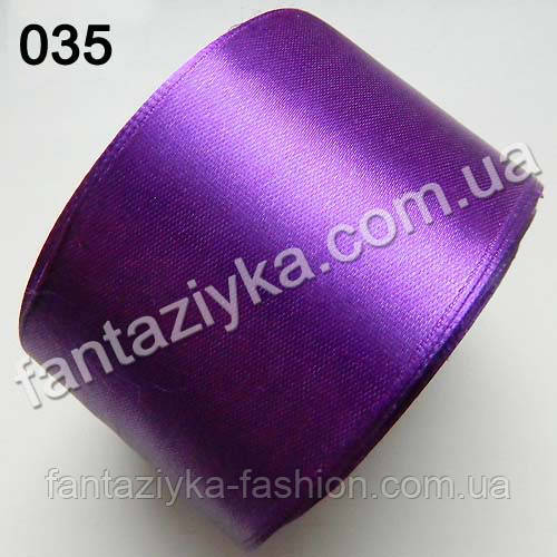 Лента атласная широкая 5 см, темно-фиолетовая 035