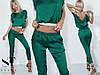 Красивый молодежный костюм: блуза топ спадающая с плеча и укороченные брюки капри, фото 7
