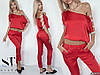 Красивый молодежный костюм: блуза топ спадающая с плеча и укороченные брюки капри, фото 5