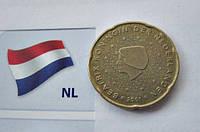 ГОЛЛАНДИЯ 20 нидерландских евроцентов 2001 год, фото 1