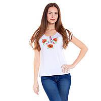 Женская вышитая футболка. Букет Анютины глазки, фото 1