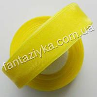 Лента органза 2,5 см, капроновая лента, желтая