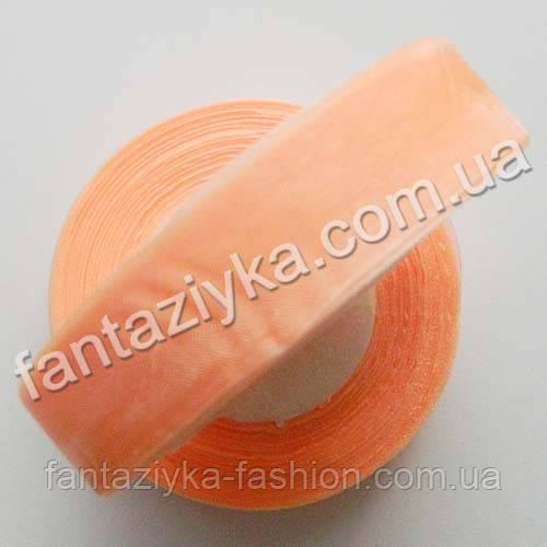 Лента органза 2,5 см, капроновая лента, персиковая